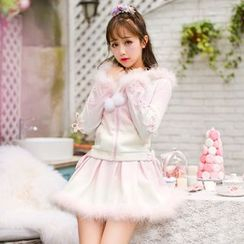 Candy Rain - Hooded Furry Trim Zip jacket