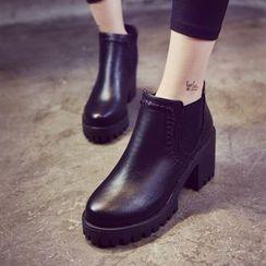 One100 - Chunky-Heel Platform Paneled Ankle Boots