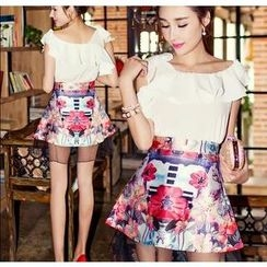 Tang House - Set: Ruffle Cropped Top + Floral A-Line Skirt