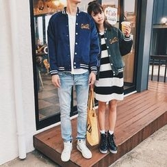 Simpair - Couple Matching Patch Embroidered Corduroy Jacket