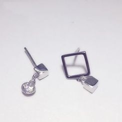A'ROCH - 925 Sterling SilverCube Non-Matching Earrings