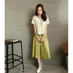 Lovebirds - Set: Short-Sleeve Top + Midi Skirt