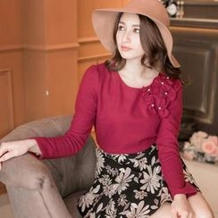 Tokyo Fashion - Long-Sleeve Beaded Bow-Accent Top