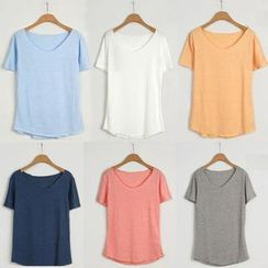 JUN.LEE - Short-Sleeve Colour T-Shirt