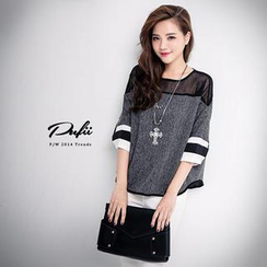 PUFII - Mesh Yoke Contrast Trim Top