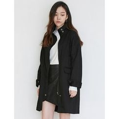 FROMBEGINNING - Funnel-Neck Zip-Up Cotton Coat