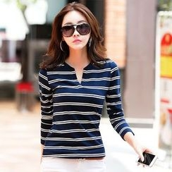 Zyote - Split-neck Stripe Long-Sleeve T-shirt