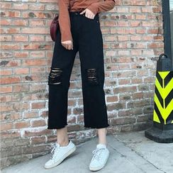Moon City - Cropped Ripped Wide Leg Jeans