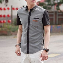 SeventyAge - Short-Sleeve Color Block Shirt
