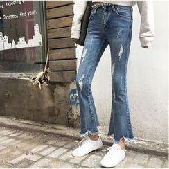 Octavia - Distressed Boot Cut Jeans
