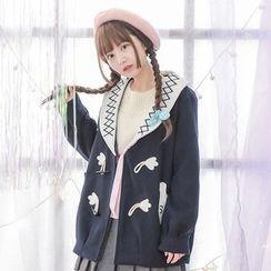 Moriville - Cat Applique Woolen Duffle Coat