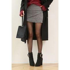 migunstyle - Fringed-Trim Checked Skirt