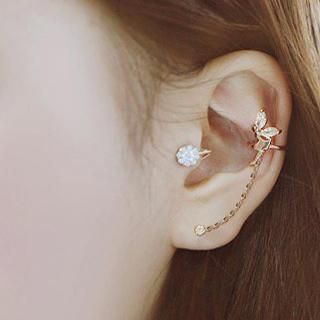 Cuteberry - Rhinestone Elf Chain Ear Cuff