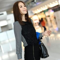 59th Street - Crochet Panel Houndstooth Blouse