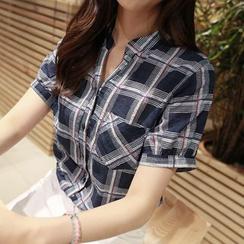 CLICK - Short-Sleeve Plaid Shirt