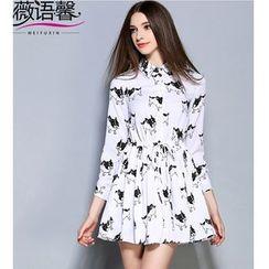 Rosesong - Dog Print Drawstring Waist Shirt Dress
