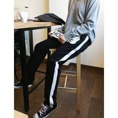 FROMBEGINNING - Contrast-Trim Sweatpants