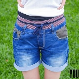 YoungBaby - Appliqué Cuffed Denim Shorts