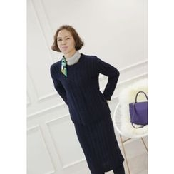 Lemite - Set: Cable-Knit Sweater + Skirt