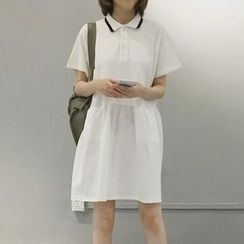 Jolly Club - Short-Sleeve Contrast-Trim Polo Dress