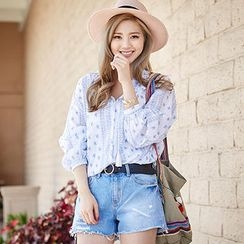 chuu - Fray-Hem Distressed Denim Shorts