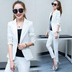 belle epoque - Set: Plain Blazer + Cropped Dress Pants