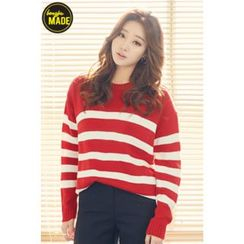 BONGJA SHOP - Stripe Crew-Neck Knit Top