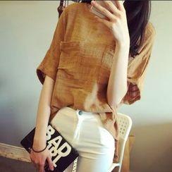 Glen Glam - Short-Sleeve Linen Top