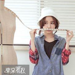 Tokyo Fashion - Plaid Long-Sleeve Denim Shirt