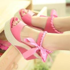Pastel Pairs - Ribbon Wedge Sandals