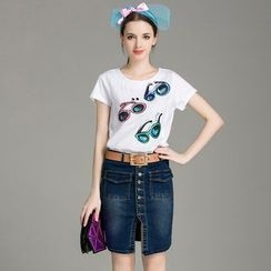 Cherry Dress - Set: Printed Short-Sleeve T-shirt + Button-front Denim Skirt