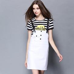 Cherry Dress - Set: Stripe Letter Short-Sleeve T-shirt + Suspender Skirt