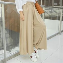 clicknme - Band-Waist Wide-Leg Pants