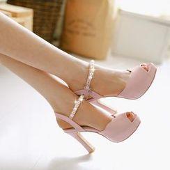 Pastel Pairs - Faux Pearl Platform Heeled Sandals