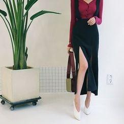 DABAGIRL - Slit-Side Long Suspender Skirt