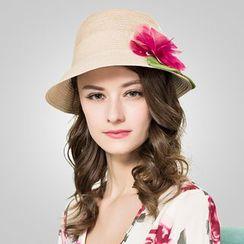 BADA - 絲麻花朵遮陽帽