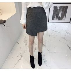 Miamasvin - Asymmetric-Hem Pinstriped Wool Blend Mini Skirt