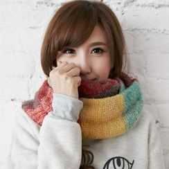 BAIMOMO - Multicolor Knit Circle Scarf