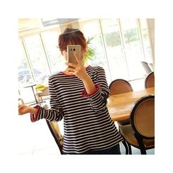 LEELIN - Contrast-Trim Striped T-Shirt