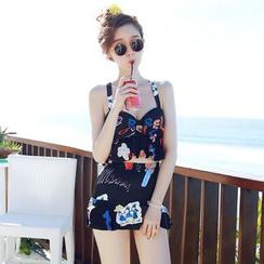 Jumei - 印花高腰坦基尼泳衣