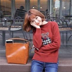 Styleberry - Bear Appliqué Knit Top