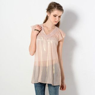 59 Seconds - Sheer Flutter-Sleeve Top
