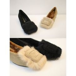 STYLEBYYAM - Faux-Fur Trim Faux-Suede Pumps