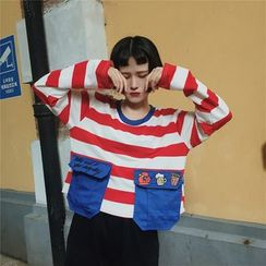 Cattie - Embroidered Striped Cropped Long-Sleeve T-Shirt