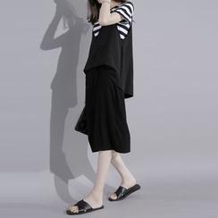 Sonne - Mock Two-Piece Striped Midi Dress