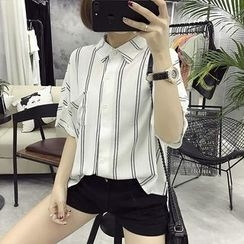 Windbird - Pinstripe Short-Sleeve Blouse