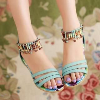 Pangmama - Beaded Flat Sandals