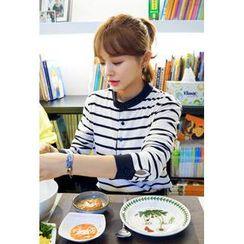 IMvely - Mandarin-Collar Stripe Henley