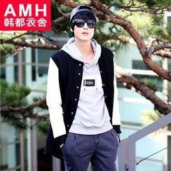 AMPO - Faux Leather Panel Baseball Jacket