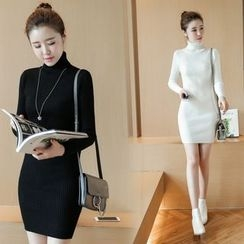 Clospace - Long-Sleeve High Neck Knit Sheath Dress